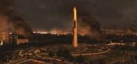 Le Washington Monument portant les stigmates de l'attaque russe